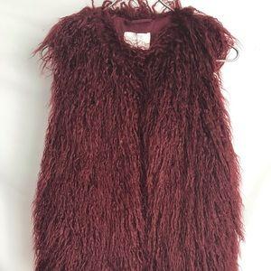 Zara Girls burgundy Teddy Bear Fur Vest